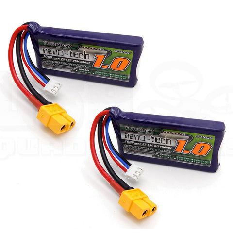 2pcs Turnigy Nano-Tech 1000mAh 2S LiPo Battery Pack 7.4V 25C 50C XT60 Plug
