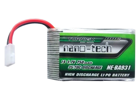 4pcs Turnigy Nano-Tech 750mAh 1S LiPo Battery 35C with Micro JST Connector Plug