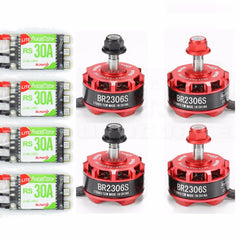 4pcs RacerStar BR2306S 2306 2700kV 2-4S Brushless Motor set with RS30A 2-4S ESCs