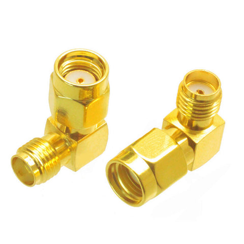 2pcs 5.8G 2.4G Coaxial Adapter RP-SMA Male to SMA Female 90-Degree Jack Plug