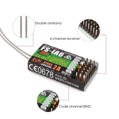 FlySky FS-iA6 6-Channel 2.4GHz Receiver AFHDS 2A Protocol Long Dual Antenna