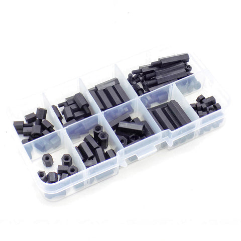 Nylon M3 Hex Standoff Spacer Kit with Screws Nuts 120pcs 6-20mm (Black)