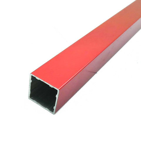 2pcs 12.8x12.8x600mm  Inch Aluminum Extrusion Square Tube (Red Anodized)