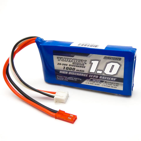 Turnigy 1000mAh 2S LiPo Battery Pack 7.4V 20C 30C JST Connector Plug