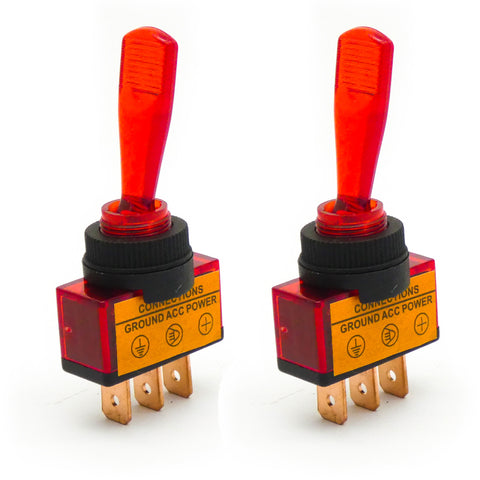 2pcs 12V 20A LED Light Illuminated Rocker Flick Toggle Switch for Groundstation