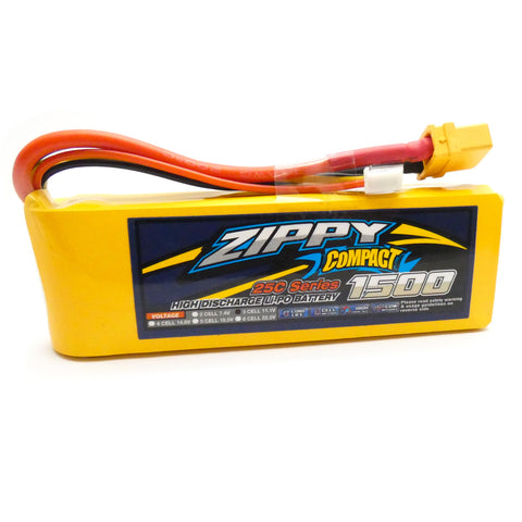 Zippy Compact 1500mAh 3S LiPo Battery Pack 11.1V 25C 50C XT60 Connector Plug