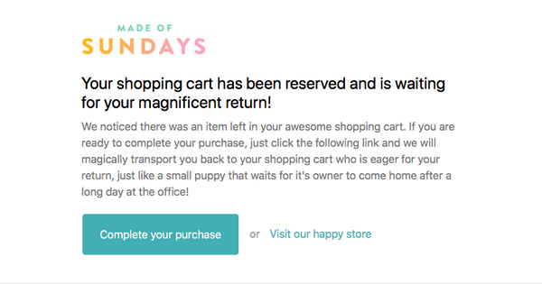 "Abandoned cart email from Made of Sundays is titled: ""Your shopping cart misses you! :-("""