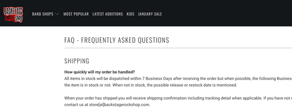 Backstage Rock Shop's FAQ page answers all the questions customer may have.