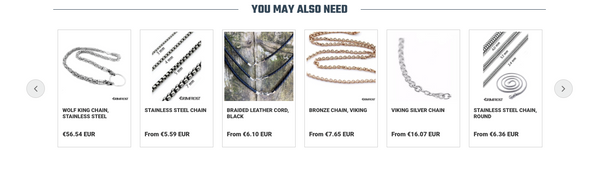 WHERE THERE'S AN AMULET, THERE ARE ALSO CHAINS. GRIMFROST'S PRODUCT PAGES RECOMMEND COMPATIBLE PRODUCTS.