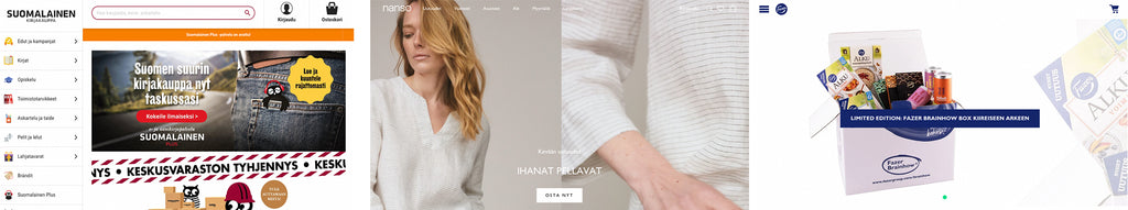THE ONLINE STORES OF SUOMALAINEN KIRJAKAUPPA, NANSO AND FAZER USE THE SHOPIFY PLATFORM.