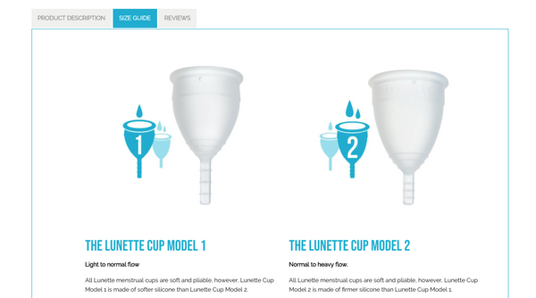LUNETTE'S PRODUCT PAGE INCLUDES A SIZE GUIDE TO HELP CUSTOMERS CHOOSE THE CORRECT SIZE OF MOON CUP FOR THEMSELVES.