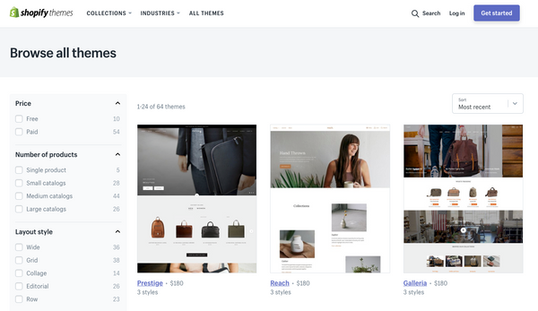 The search function in the Shopify Theme store allows you to find just the right theme for your needs.
