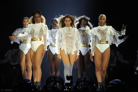 Beyonce and Dancers in Nubian Skin Formation
