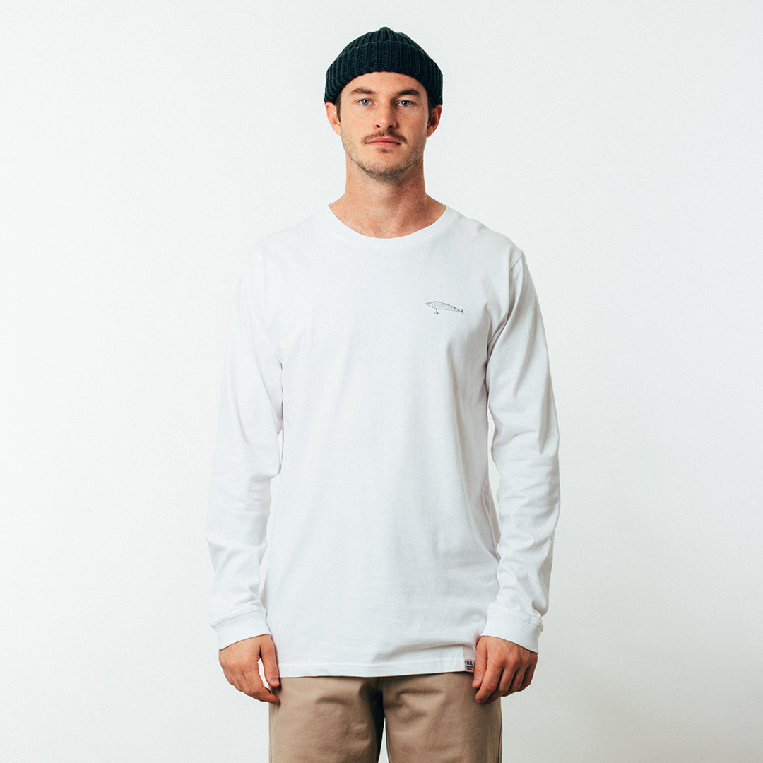 Bass Long Sleeve Tee - Flick - White