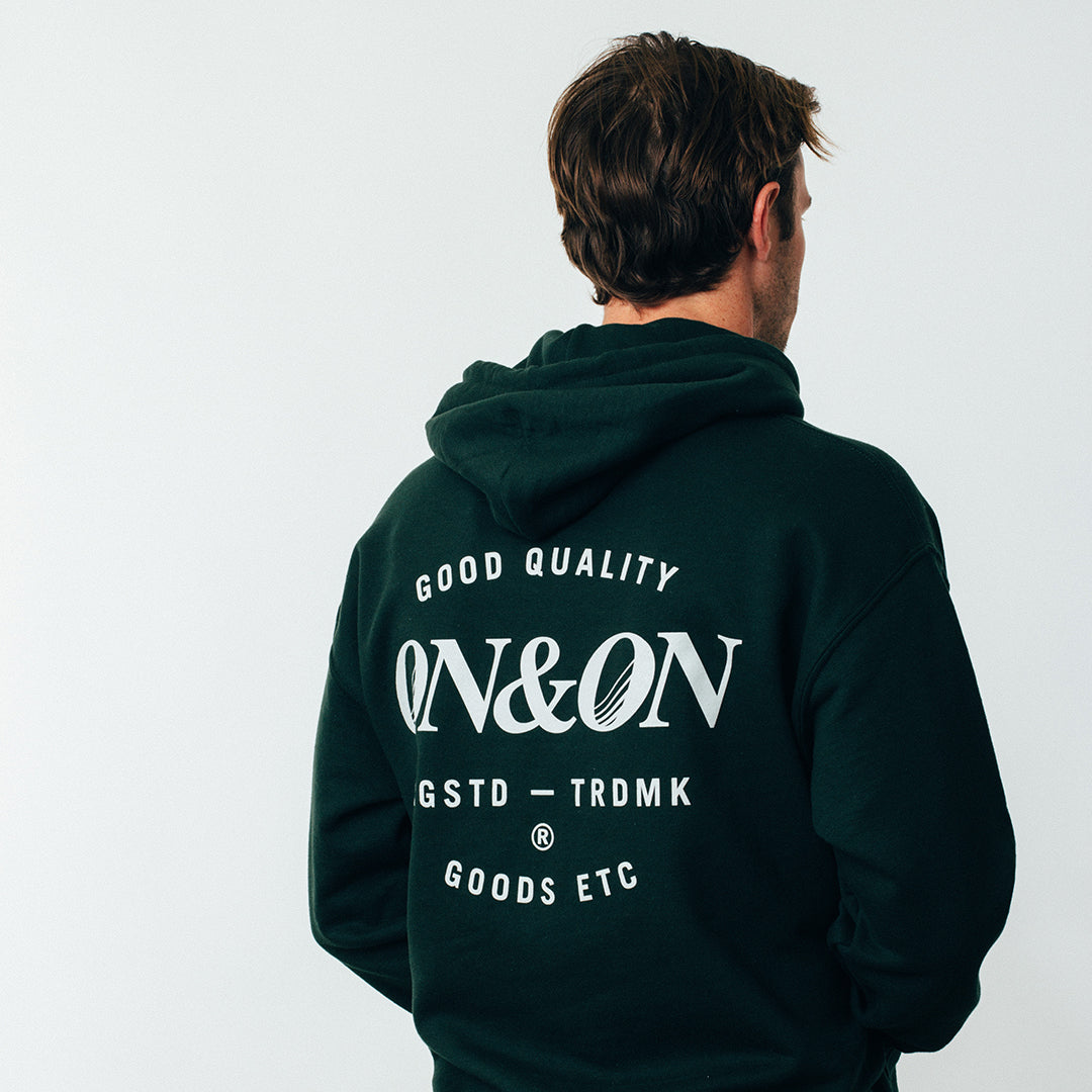 Hooded Sweat - Pin Print - Forest Green