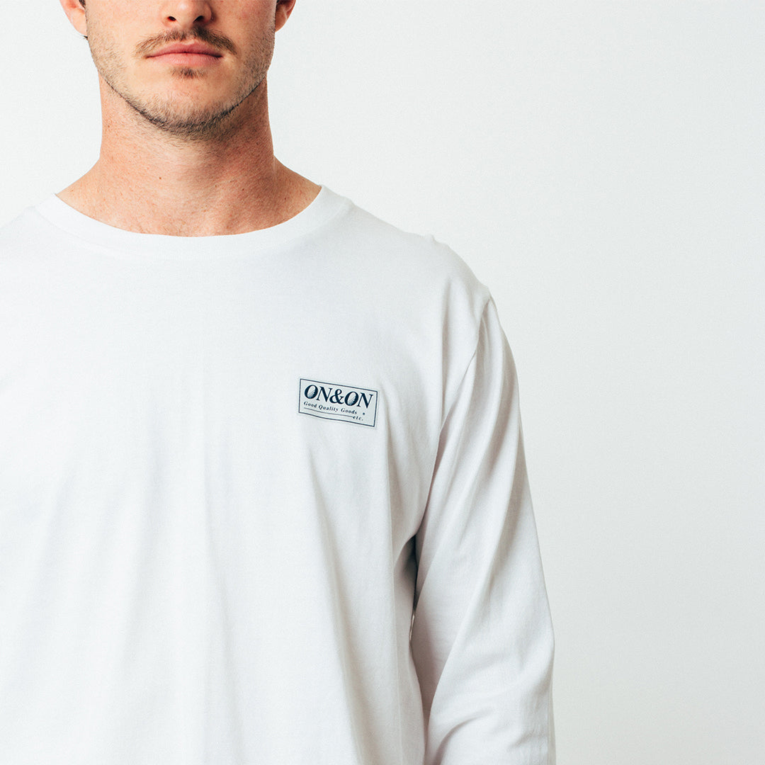 Bass Long Sleeve Tee - Pin Print - White