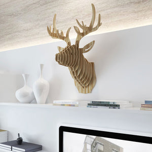 Mammoth wooden head seek exclusive for Decoration murale tete de cerf