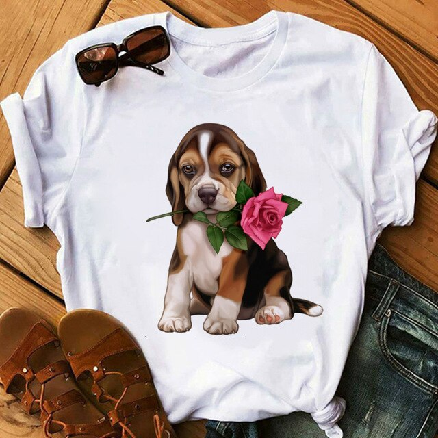 T-Shirt Beagle Rose