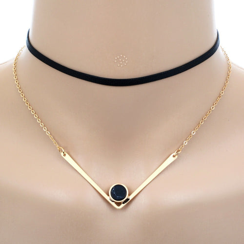 Short Black Leather with Gold-tone V Shape Faux Stone Pendant