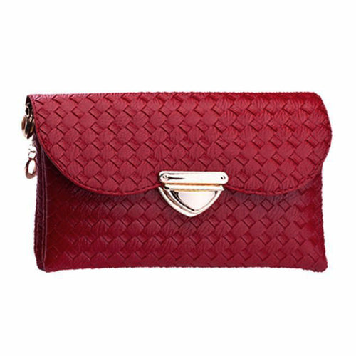 Red Weave-Pattern Clutch and Shoulder Bag