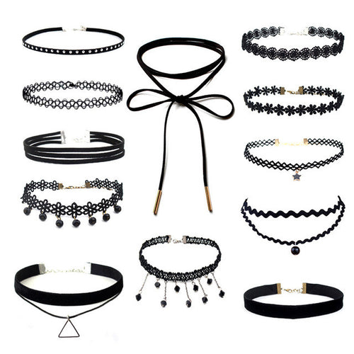 Black Velvet Choker Necklace Sets
