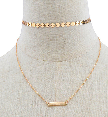 Multi-layer Metallic Choker Necklace