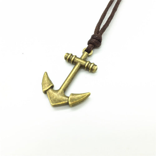Collar Hemp Rope with Vintage Alloy Anchor Pendant