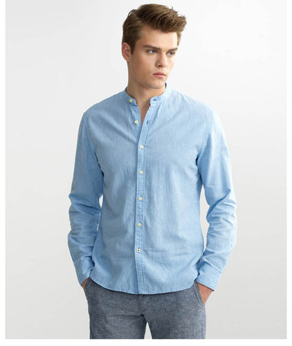 Giordano Cotton Linen Men Long Sleeves Shirt for Men