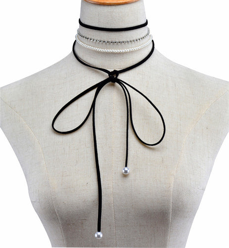 Pearl Long Bow Knot Choker Necklace