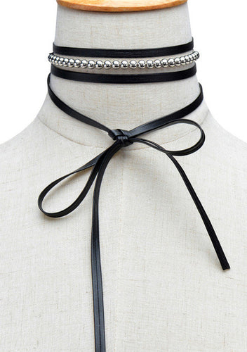 Leather Maxi Multi-Layer Choker Necklace