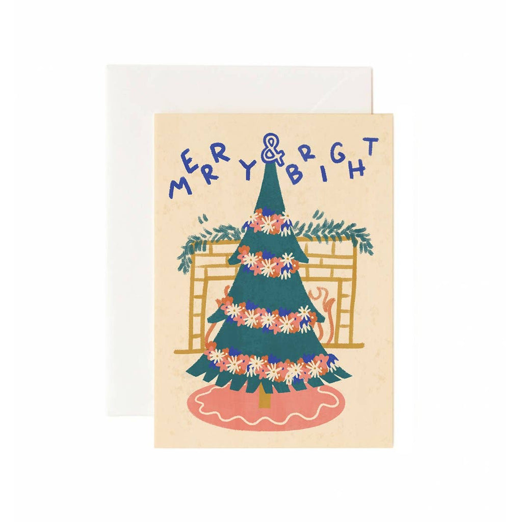Brandelane - Merry and Bright Christmas Tree Holiday Greeting Card