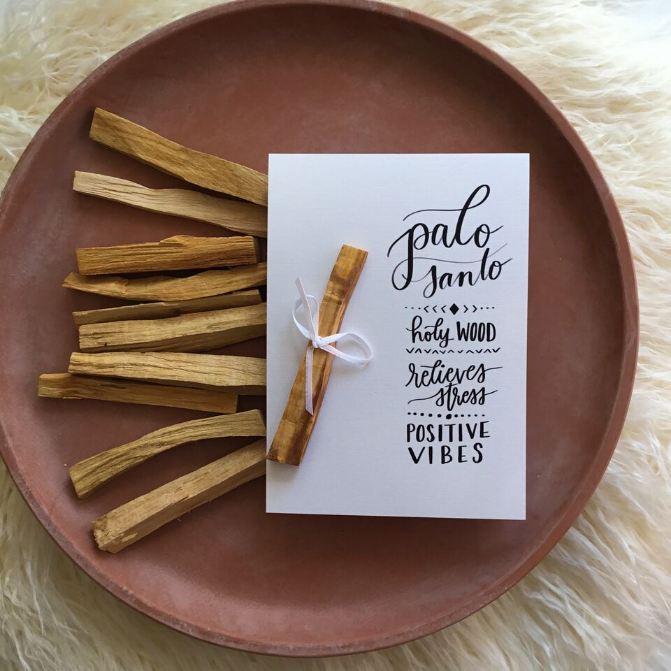 Crystal Rising - Palo Santo With Handlettered Card