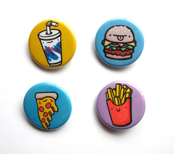 Emily McGaughey - Screen Printing & Illustration - Junk Food Dudes Pin - Pack of 4
