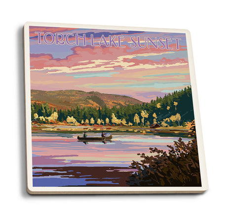 Lantern Press - Torch Lake - Michigan Lake Scene at Dusk Coaster