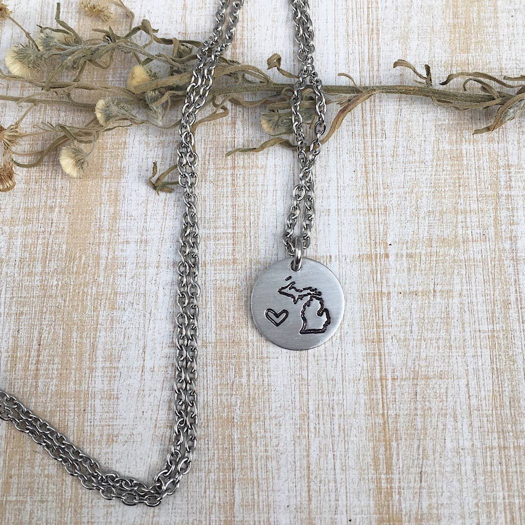 Jamie Haley Designs - Michigan state pendant with heart