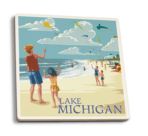 Lantern Press - Lake Michigan - Children Flying Kites Ceramic Coaster