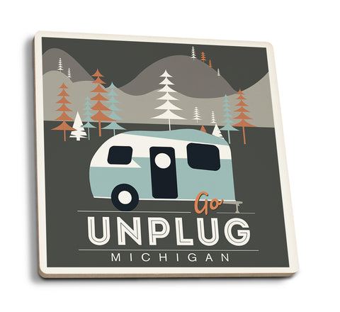Lantern Press - Michigan Go Unplug Camper Vector Style Ceramic Coaster