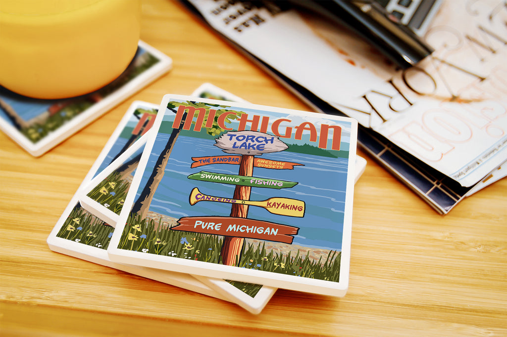 Lantern Press - Torch Lake - Michigan Pure Michigan Sign Destinations Coasters