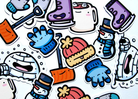 Emily McGaughey - Screen Printing & Illustration - Winter Sticker Pack