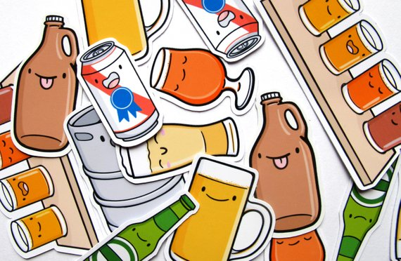Emily McGaughey - Screen Printing & Illustration - Beer Buddies Sticker Pack