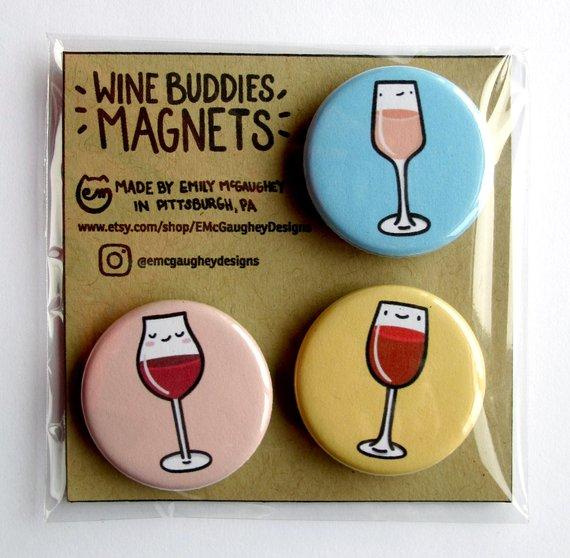 Emily McGaughey - Screen Printing & Illustration - Wine Buddies Magnet - Pack of 3