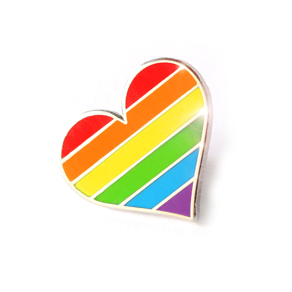 Gay Pride Heart Enamel Pin
