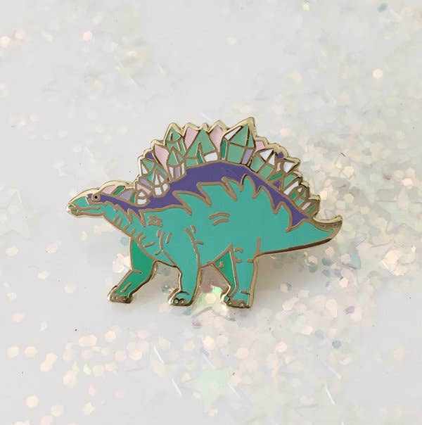 Wildflower + Co. - Enamel Pin, Crystal Stegosaurus Dinosaur