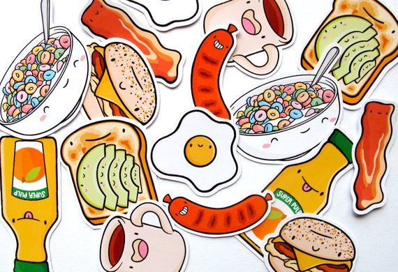Emily McGaughey - Screen Printing & Illustration - Breakfast Buddies Sticker Pack