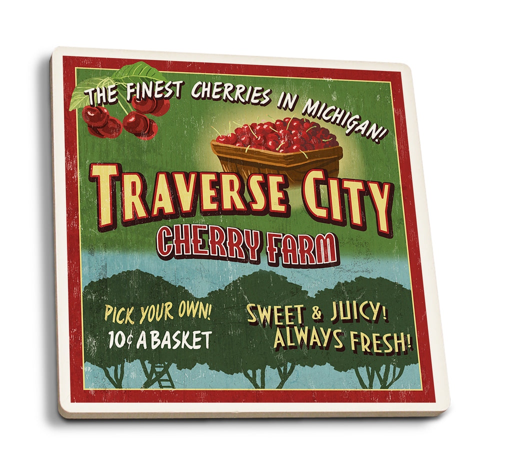Lantern Press - Traverse City - Michigan Cherry Farm Sign Ceramic Coasters