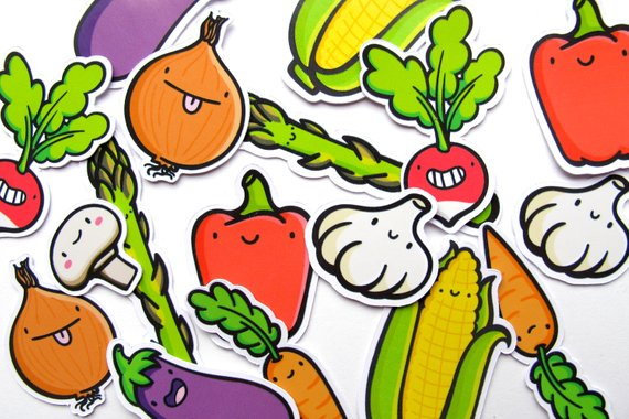 Emily McGaughey - Screen Printing & Illustration - Veggie Dudes Sticker Pack