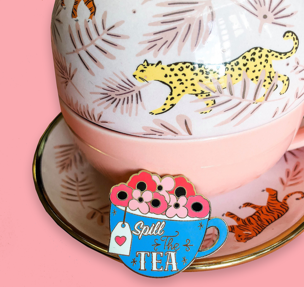 Spill the Tea Quirky Girl Enamel Pin