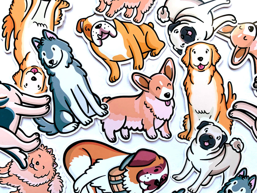 Emily McGaughey - Screen Printing & Illustration - Dog Breeds Sticker Pack