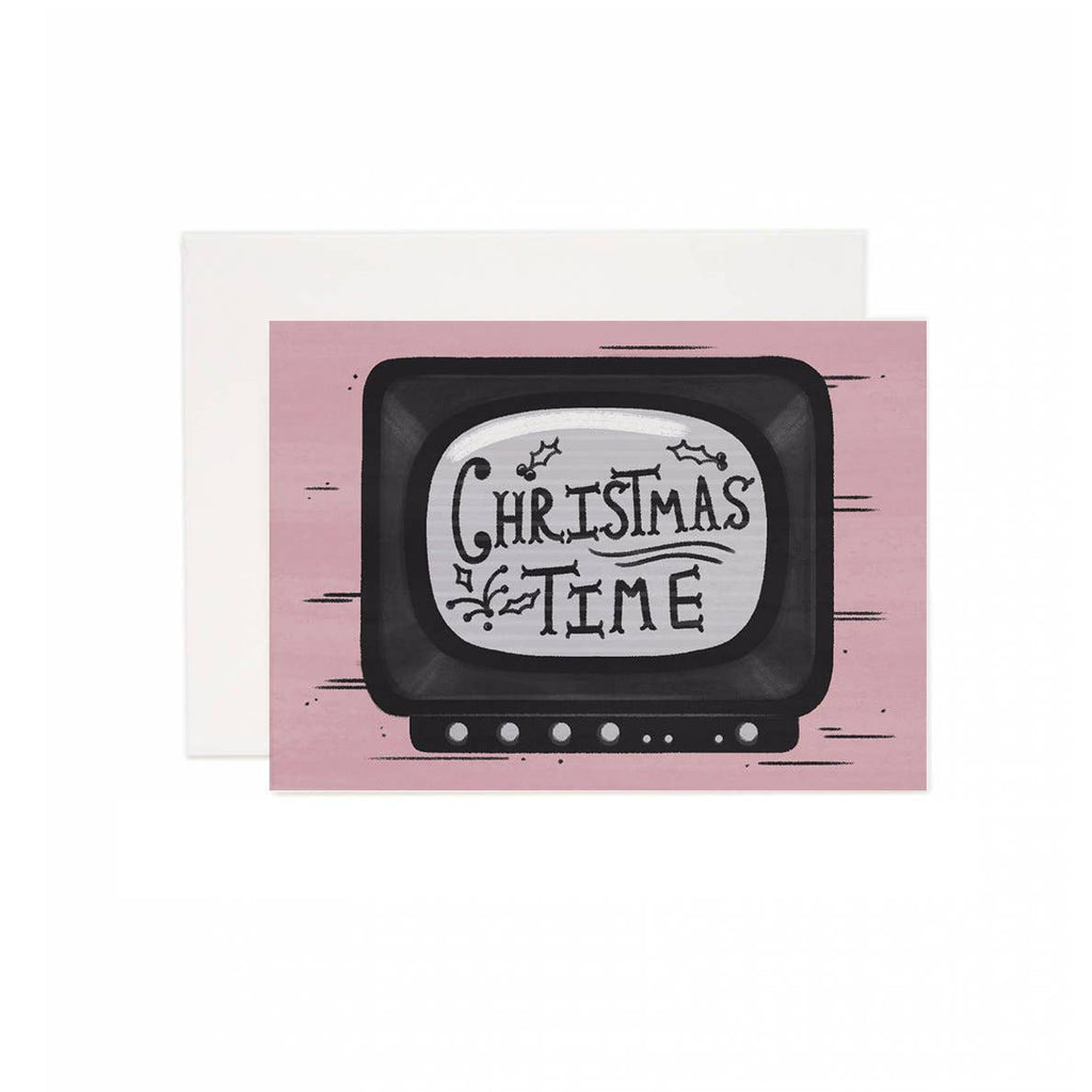 Brandelane - Retro TV Christmas Time Holiday Greeting Card