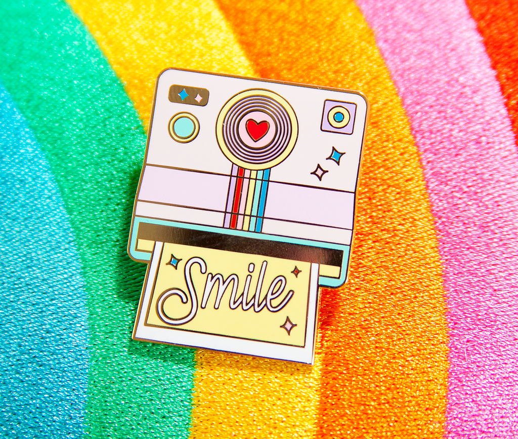 Rainbow Polaroid Camera Smile Enamel Pin